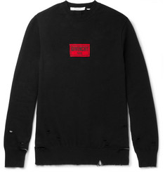 Givenchy Appliquéd Distressed Cotton-Blend Jersey Sweatshirt