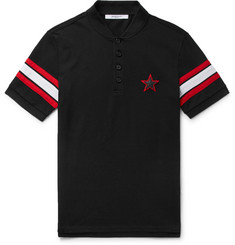 Givenchy - Cuban-Fit Leather-Trimmed Cotton-Piqué Polo Shirt