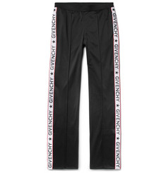 Givenchy Rubber-Appliquéd Fleece-Back Satin-Jersey Trousers