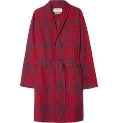 Oliver Spencer Loungewear - Checked Cotton Robe