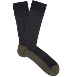 Oliver Spencer Loungewear Miller Colour-Block Stretch Cotton-Blend Piqué Socks