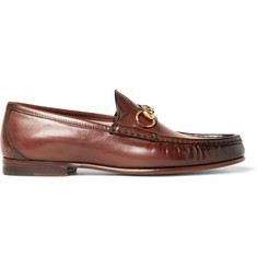 f7ea06c9e2a Gucci Roos Horsebit Burnished-Leather Loafers