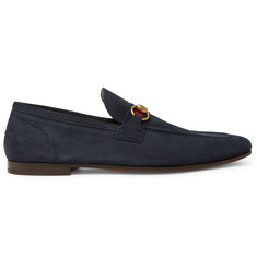 Gucci Horsebit Webbing-Trimmed Suede Loafers