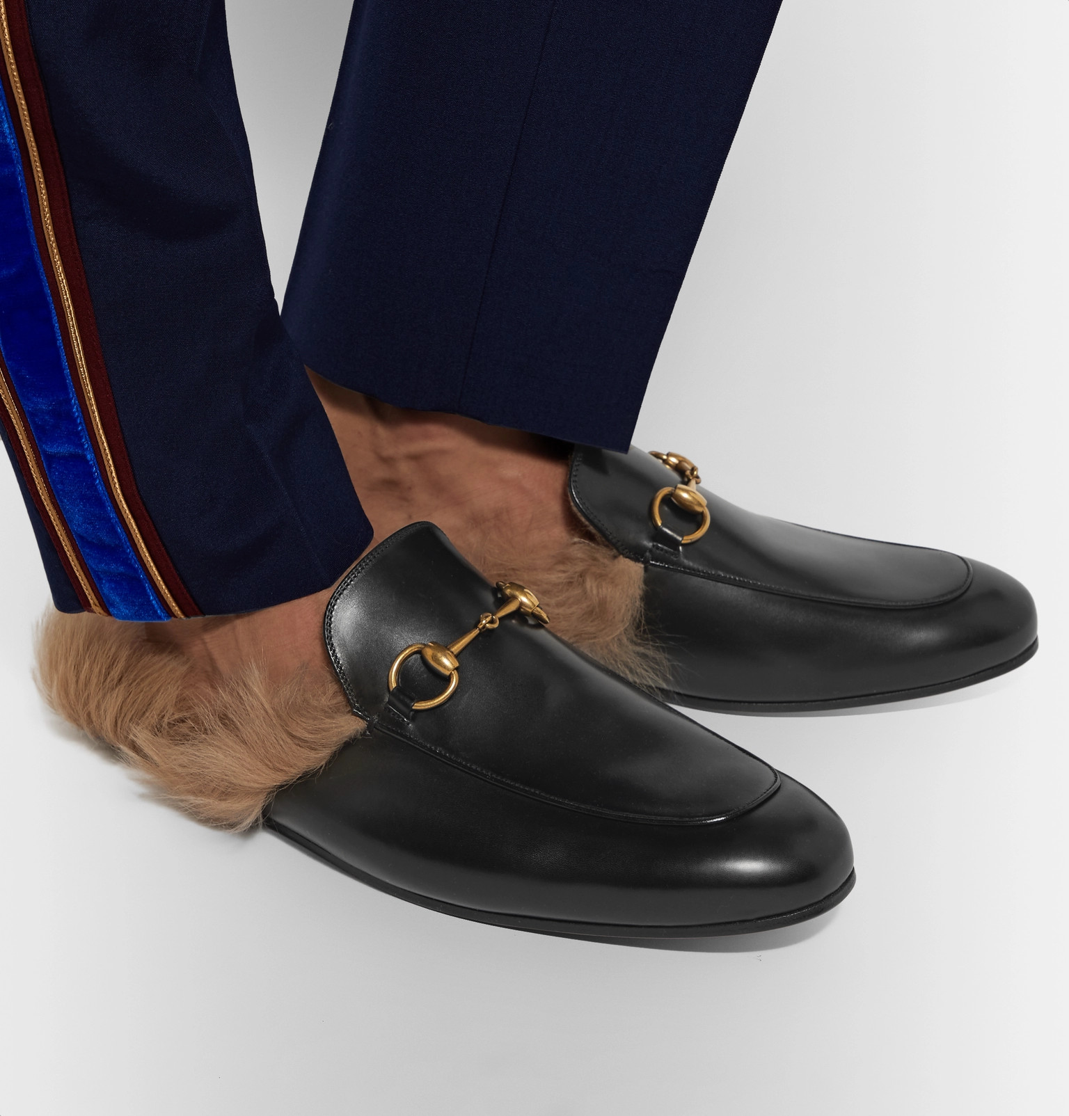 6e7697b9c Gucci - Princetown Horsebit Shearling-Lined Leather Backless Loafers