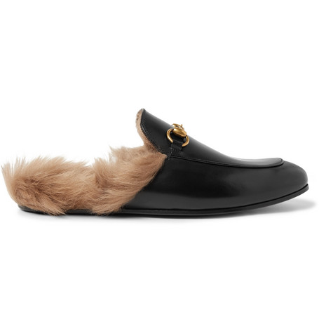 Gucci – Princetown Horsebit Shearling-lined Leather Backless Loafers – Black