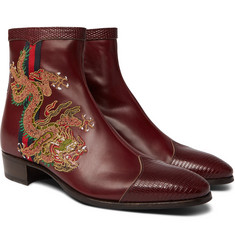 Gucci Webbing-Trimmed Embroidered Leather Chelsea Boots