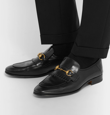 8d070583645 Gucci Harbor Horsebit Fringed Leather Loafers In Black