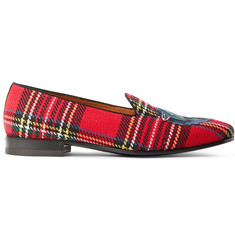 Gucci Gallipoli Appliquéd Tartan Tweed Loafers
