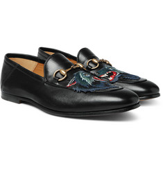 Gucci Brixton Horsebit Collapsible-Heel Appliquéd Leather Loafers
