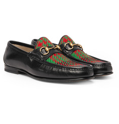 Gucci - Roos Horsebit Embroidered Leather and Checked Tweed Loafers