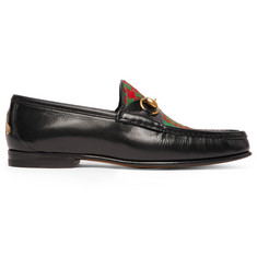 Roos Horsebit Embroidered Leather And Checked Tweed Loafers Gucci w088c4OrO