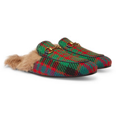 Gucci Princetown Shearling-Lined Tweed Backless Loafers