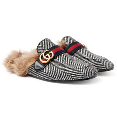 Gucci - Princetown Shearling-Lined Herringbone Wool Backless Loafers