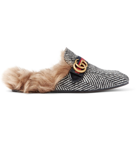 8c4fb65f839 Gucci Black   White Herringbone Wool-Lined Princetown Slip-On Loafers