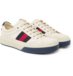 Gucci - More Webbing-Trimmed Suede and Leather Sneakers