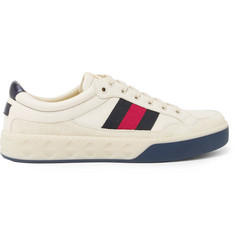 Gucci More Webbing-Trimmed Suede and Leather Sneakers
