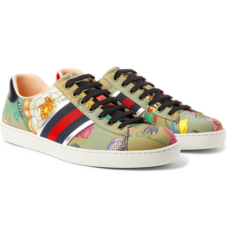 Ace Leather-trimmed Printed Canvas Sneakers Gucci 5q6nfV