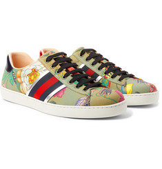 Gucci - Ace Leather and Webbing-Trimmed Printed Canvas Sneakers