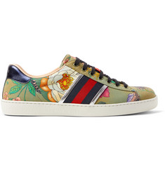 Gucci Ace Leather and Webbing-Trimmed Printed Canvas Sneakers