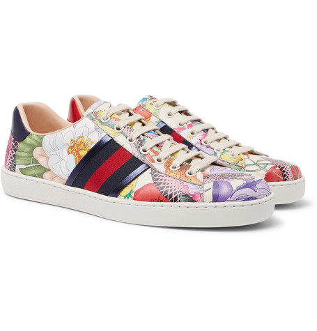 b51278d9091 Gucci - Ace Printed Leather Sneakers