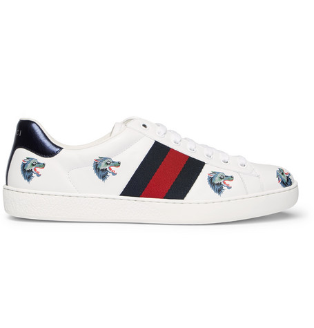 Gucci New Ace Wolf-Embroidered Leather Trainers In White