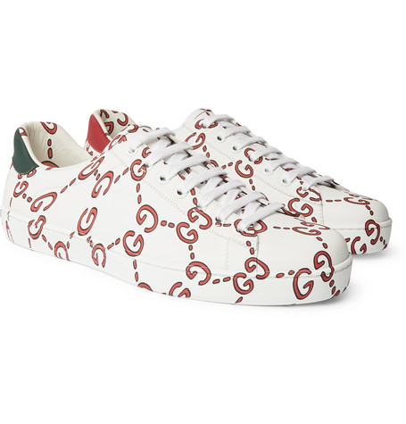 New Ace Printed Leather Sneakers - White
