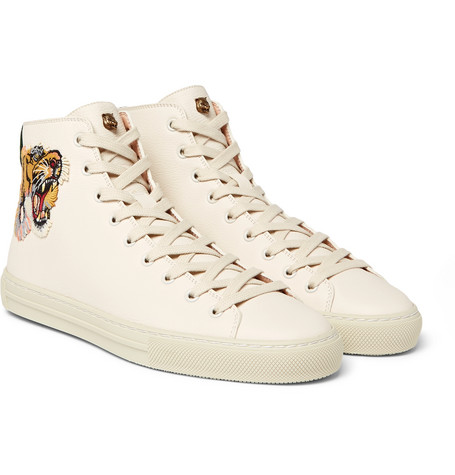 Major Tiger-appliquéd Full-grain Leather High-top Sneakers - Cream
