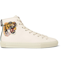 Gucci Major Tiger-Appliquéd Full-Grain Leather High-Top Sneakers