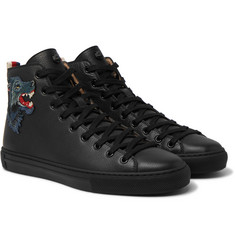 Gucci - Major Wolf-Appliquéd Full-Grain Leather High-Top Sneakers