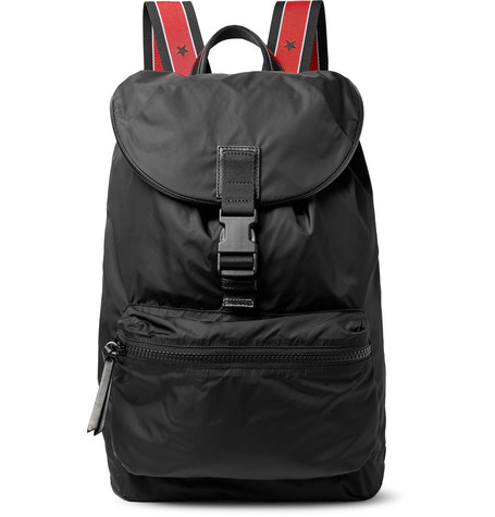 Obsedia Leather-trimmed Nylon Backpack - Black