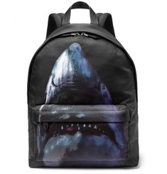 Givenchy - Leather-Trimmed Shark-Print Canvas Backpack