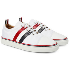 Thom Browne Striped Leather-Trimmed Canvas Sneakers