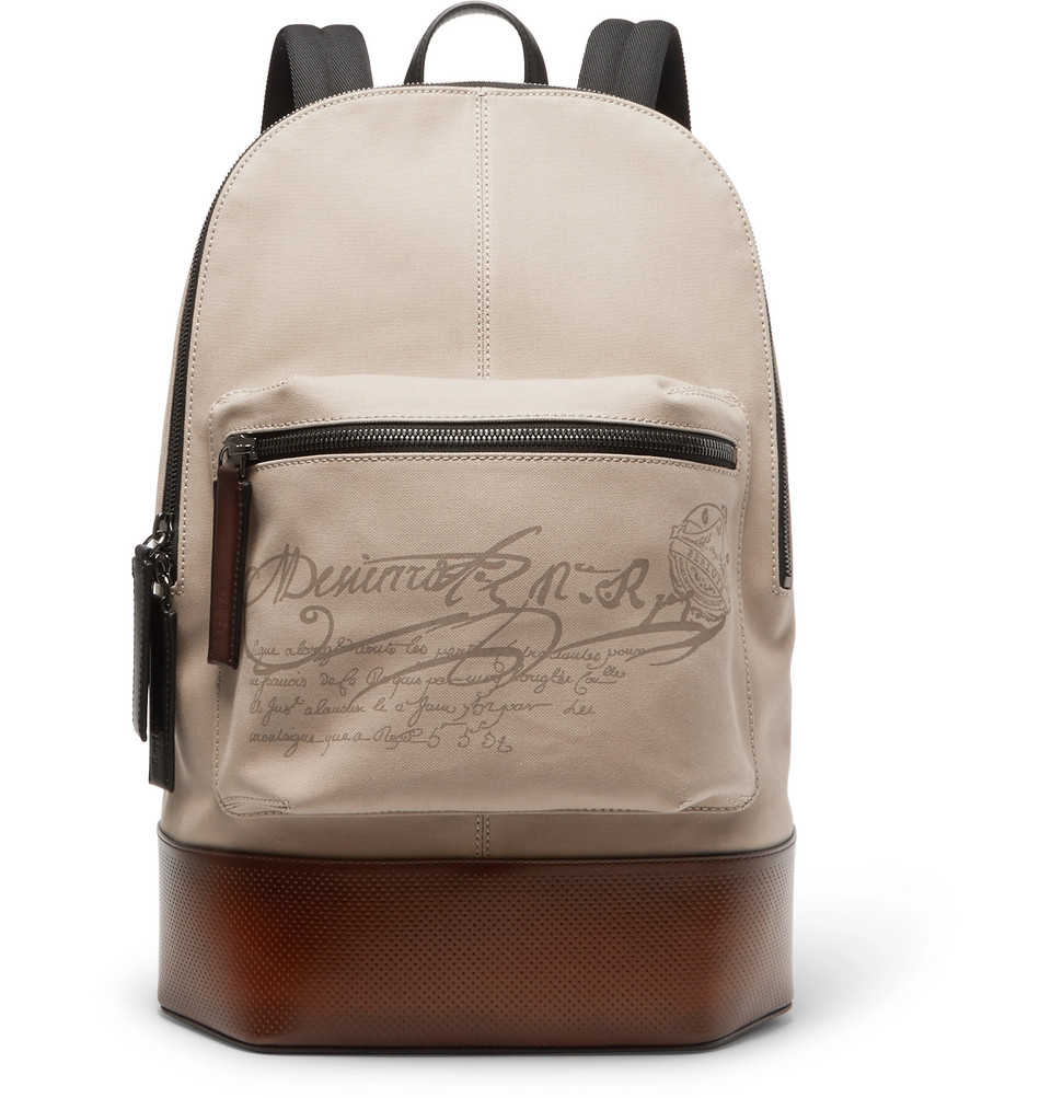 Berluti Volume Large Canvas and Leather Backpack