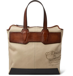Berluti Aire Leather-Trimmed Printed Canvas Tote Bag