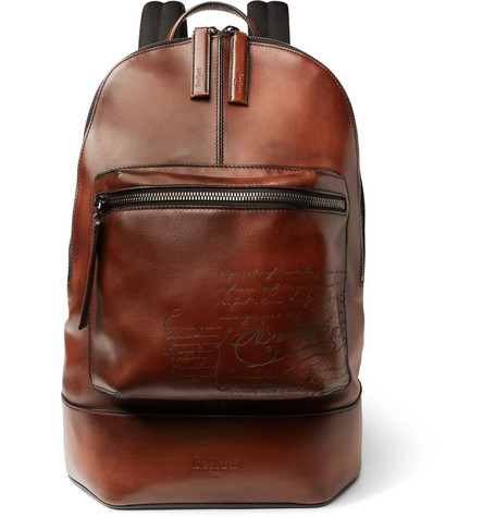 Scritto Polished-leather Backpack - Tan