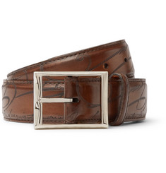Berluti 3.5cm Brown Scritto Polished-Leather Belt