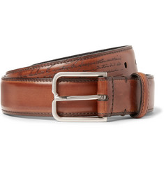 Berluti 3cm Brown Polished-Leather Belt