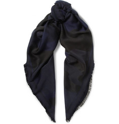 Berluti - Fringed Camouflage Wool, Cotton and Silk-Blend Jacquard Scarf