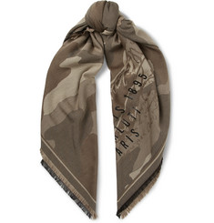 Berluti Fringed Camouflage Wool, Cotton and Silk-Blend Jacquard Scarf