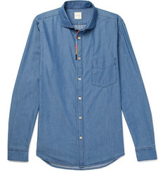 Paul Smith Cutaway-Collar Embroidered Cotton-Blend Chambray Shirt