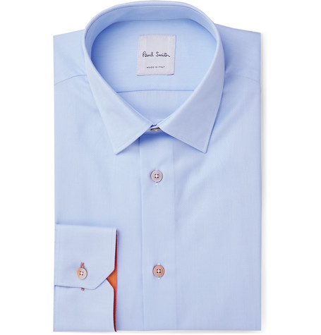 Light-blue Soho Slim-fit Cotton-twill Shirt - Blue