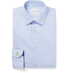 Paul Smith Blue Soho Slim-Fit Striped Cotton-Poplin Shirt