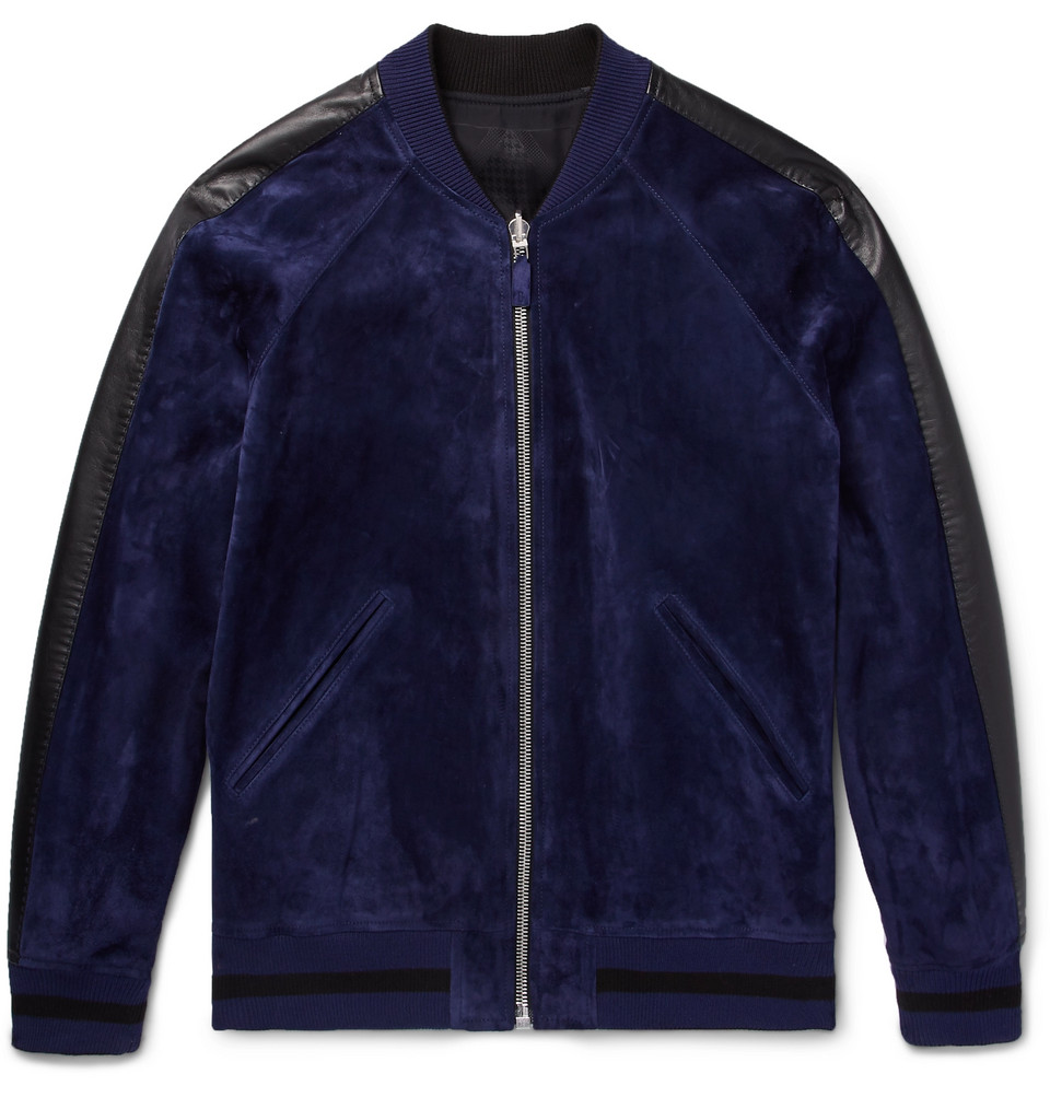 Reversible Leather-trimmed Suede And Jacquard Bomber Jacket - Navy