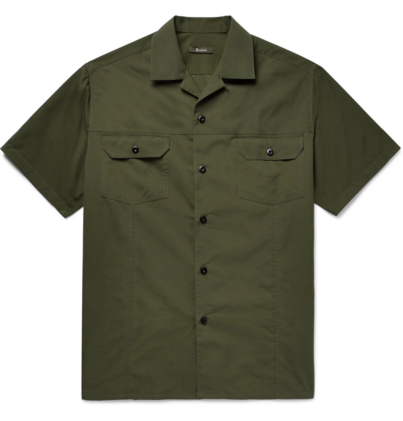 Camp-collar Cotton And Mulberry Silk-blend Shirt Berluti Best Wholesale Cheap Online wtIXP