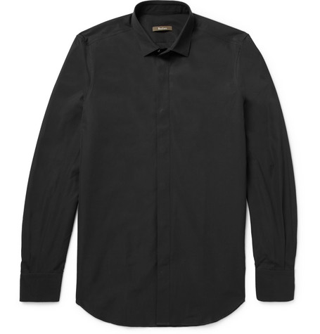 Slim-fit Cotton-poplin Shirt - Black