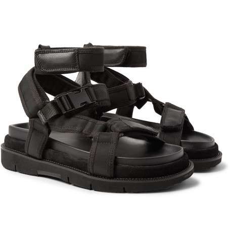 Leather And Suede Trimmed Nylon Sandals by Maison Margiela
