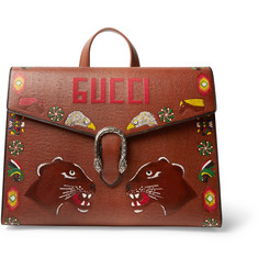 Gucci Dionysus Hand-Painted Textured-Leather Briefcase