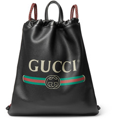 Gucci Printed Full-Grain Leather Backpack