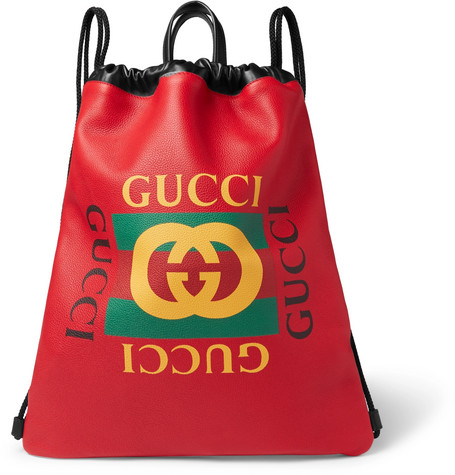 25c8cb2b9f14 Gucci - Printed Leather Drawstring Backpack