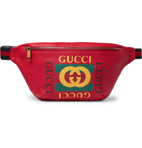Gucci Webbing-trimmed Printed Full-grain Leather Belt Bag In Red